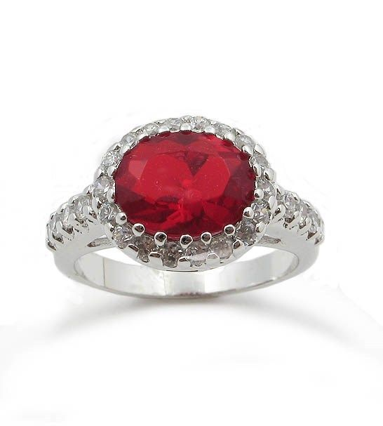 Oval Ruby Red July Birthstone Cubic Zirconia Ring - SIZE 6, 7, 8