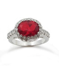 Oval Ruby Red July Birthstone Cubic Zirconia Ring - SIZE 6, 7, 8 image 1