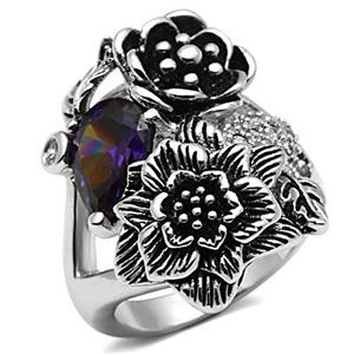 Multiple Flower Garden Style Purple Cubic Zirconia Cocktail Ring SIZE 6 TO 9