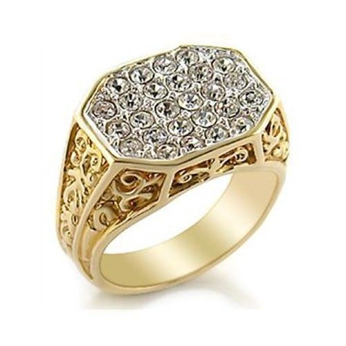 Two Tone Filigree Design Pave Cubic Zirconia Men's Ring SIZE 10 OR OTHER SIZES