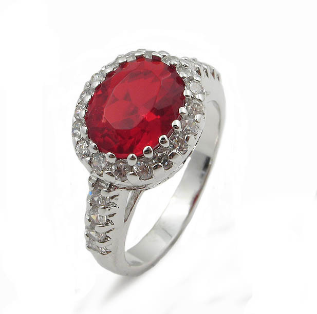 Oval Ruby Red July Birthstone Cubic Zirconia Ring - SIZE 6, 7, 8 image 2