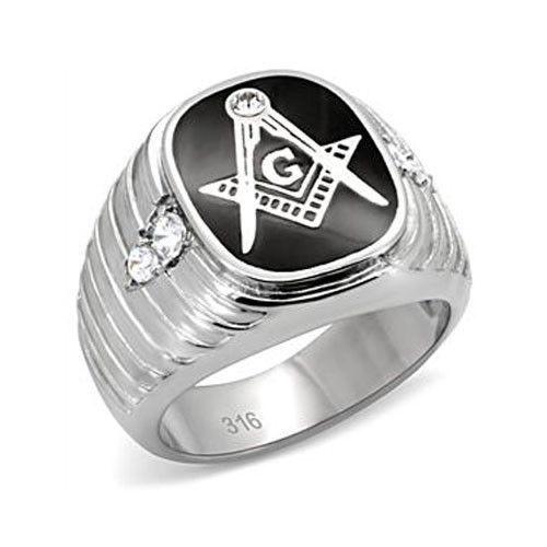 Stainless Steel Black Enamel Men's CZ Masonic Ring-  Size 8 - 13
