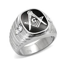 Stainless Steel Black Enamel Men's CZ Masonic Ring-  Size 8 - 13 image 1