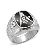 Stainless Steel Black Enamel Men's CZ Masonic Ring-  Size 8 - 13 - $15.49