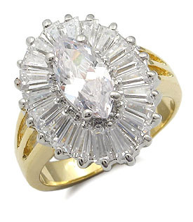 2 Tone Marquise Center  Baguette Sides CZ Right Hand Ring - SIZE 5 (LAST ONE)