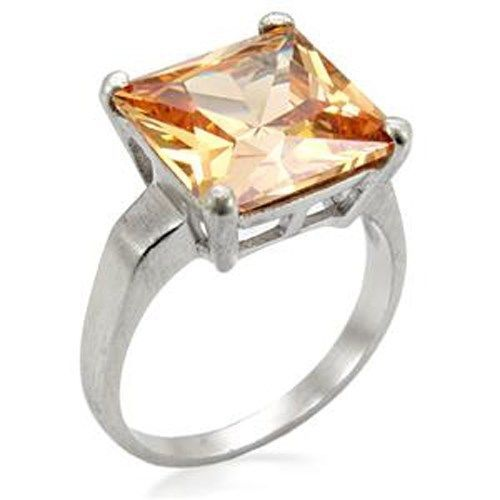 Silver Tone Solitaire Princess Cut Champagne CZ Ring - SIZE 10 (LAST ONE)