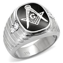 Stainless Steel Black Enamel Men's CZ Masonic Ring-  Size 8 - 13 image 2