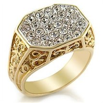 Two Tone Filigree Design Pave Cubic Zirconia Men's Ring SIZE 10 OR OTHER SIZES image 2