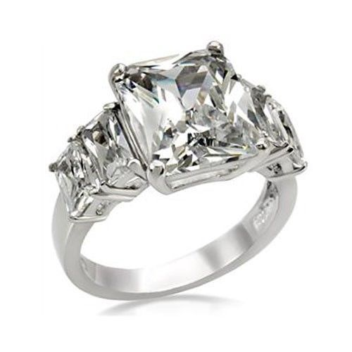 5 Stone Stainless Steel Emerald Cut Cubic Zirconia Ring - SIZE 10 OR OTHER SIZES