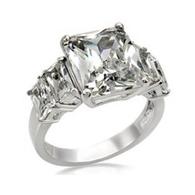 5 Stone Stainless Steel Emerald Cut Cubic Zirconia Ring - SIZE 10 OR OTHER SIZES image 1
