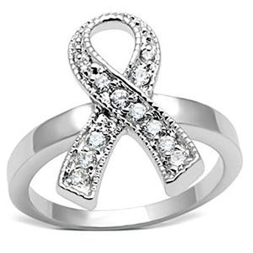 Silver Tone Breast Cancer Awareness White CZ Ribbon Ring  - SIZE 5, 6, 7