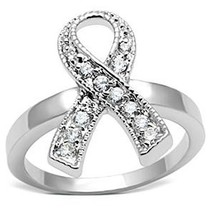 Silver Tone Breast Cancer Awareness White CZ Ribbon Ring  - SIZE 5, 6, 7 image 1