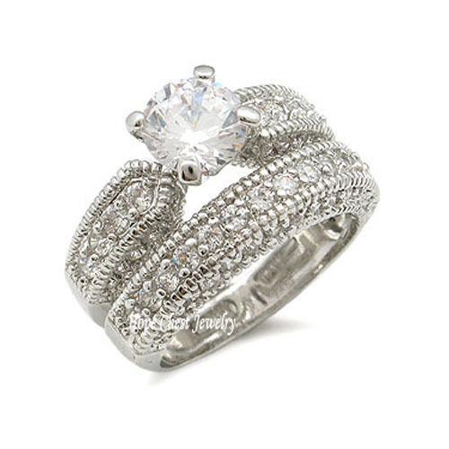 CZ WEDDING RINGS - Antique Inspired Pave CZ Wedding Set - SIZE 5 - 10