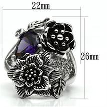 Multiple Flower Garden Style Purple Cubic Zirconia Cocktail Ring SIZE 6 TO 9 image 3
