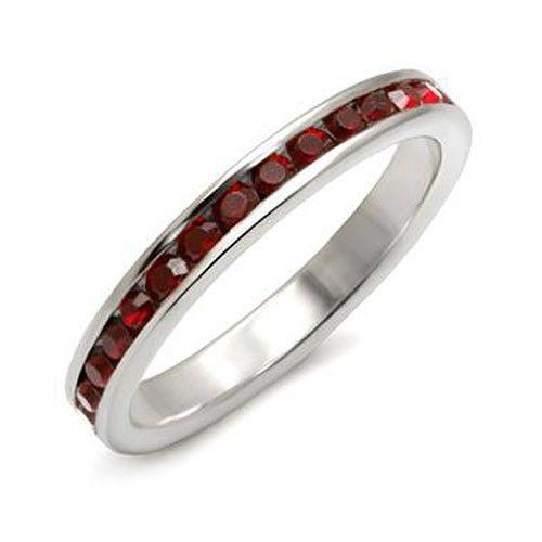 STERLING SILVER January Birthstone Garnet Red Austrian Crystal Ring SIZE 5, 8, 9