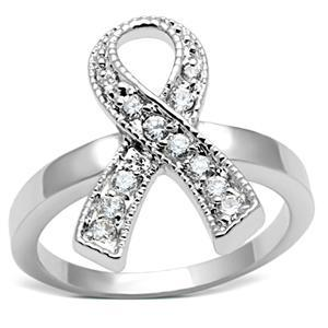Silver Tone Breast Cancer Awareness White CZ Ribbon Ring  - SIZE 5, 6, 7 image 2
