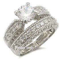 CZ WEDDING RINGS - Antique Inspired Pave CZ Wedding Set - SIZE 5 - 10 image 2