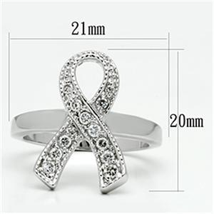 Silver Tone Breast Cancer Awareness White CZ Ribbon Ring  - SIZE 5, 6, 7 image 3