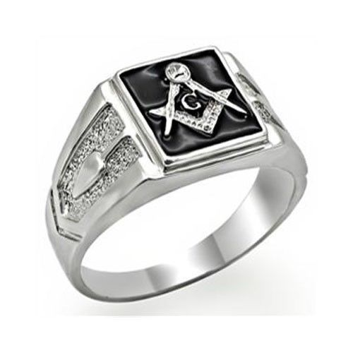 Silver Tone Black Surface Crystal Masonic Men's Ring - SIZE 13
