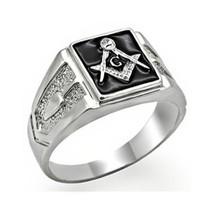 Silver Tone Black Surface Crystal Masonic Men's Ring - SIZE 13 image 1