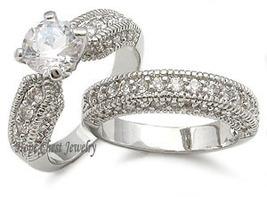 CZ WEDDING RINGS - Antique Inspired Pave CZ Wedding Set - SIZE 5 - 10 image 3