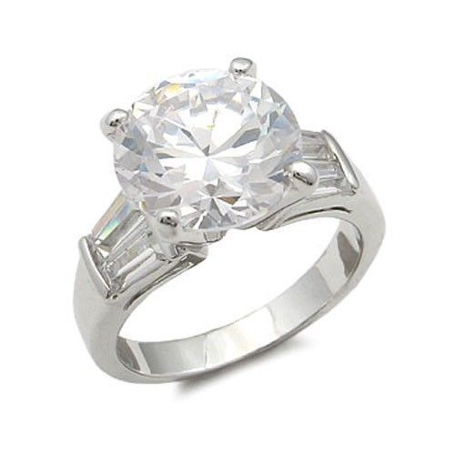 8.5 Carat CZ with Baguette Cubic Zirconia Engagement Ring - SIZE 8 (LAST ONE)