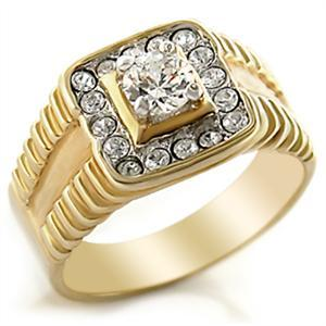 4 Prong Solitaire Cubic Zirconia with Small Stones Men's Ring - SIZE 11, 12