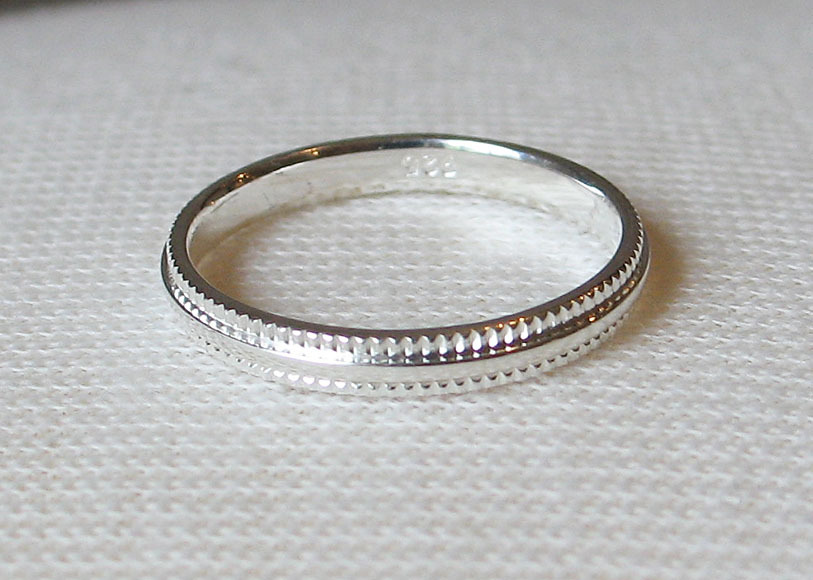 3mm Simple Sterling Silver Band Ring SIZE 7 image 2