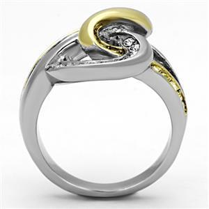 Never Fades Stainless Steel Two Tone Intertwined Crystal Ring - SIZE 5 TO 10