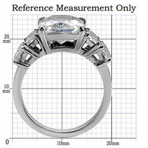 5 Stone Stainless Steel Emerald Cut Cubic Zirconia Ring - SIZE 10 OR OTHER SIZES image 2