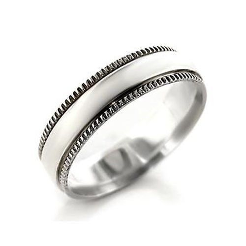 5.5mm Decorative Edge Simple Sterling Silver Band Ring - SIZE 7 (LAST ONE)