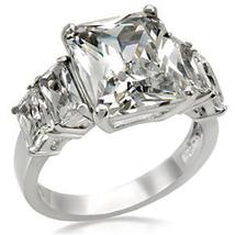 5 Stone Stainless Steel Emerald Cut Cubic Zirconia Ring - SIZE 10 OR OTHER SIZES image 3