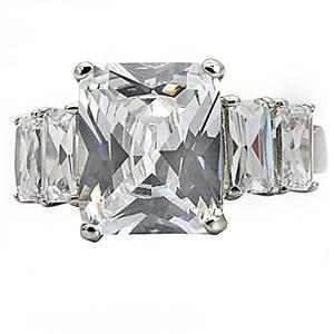 5 Stone Stainless Steel Emerald Cut Cubic Zirconia Ring - SIZE 10 OR OTHER SIZES image 4