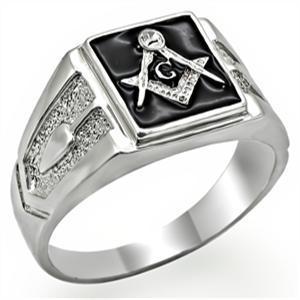 Silver Tone Black Surface Crystal Masonic Men's Ring - SIZE 13 image 2