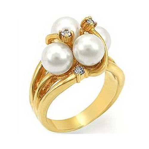 Gold Tone 4 Cream Pearl Cocktail Ring - SIZE 5 or OTHER SIZES