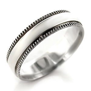 5.5mm Decorative Edge Simple Sterling Silver Band Ring - SIZE 7 (LAST ONE) image 2
