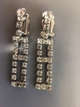 Vintage Rhinestone faux diamond Clip On Earrings - $10.00