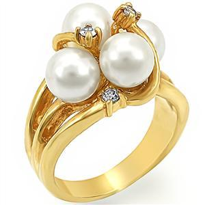Gold Tone 4 Cream Pearl Cocktail Ring - SIZE 5 or OTHER SIZES image 2