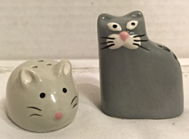 Adorable Mini Cat & Mouse Salt & Pepper Shaker Set Novelty Figural s&p s... - $7.50