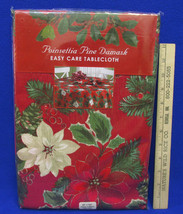 Poinsettia Pine Damask Christmas Tablecloth Red Green Flower Oblong 60 x... - $22.76