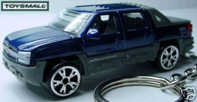 Primary image for KEY CHAIN RING INDIGO BLUE CHEVY AVALANCHE KEYRING FOB