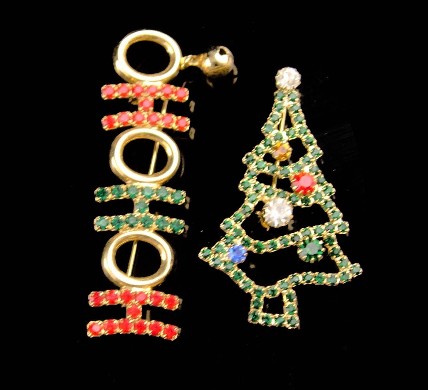 Vintage Christmas Tree brooch / ho ho ho bell brooch / Christmas gift for her /