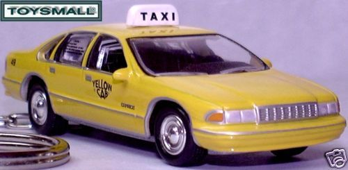 KEY CHAIN CHEVY CAPRICE TAXI YELLOW CAB KEYRING RING