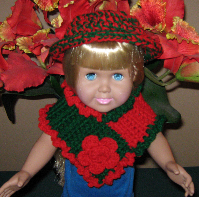 Doll clothes Red & Green Hat & Poncho for Eighteen inch Doll  Bonanza