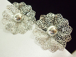 Vintage Sarah Coventry Filigree Silver Plate Big Bold Clip Earring Scall... - $14.80