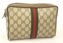 Auth OLD Gucci Accessory Collection Vintage GG Sherry line Clutch Beige ... - $310.86