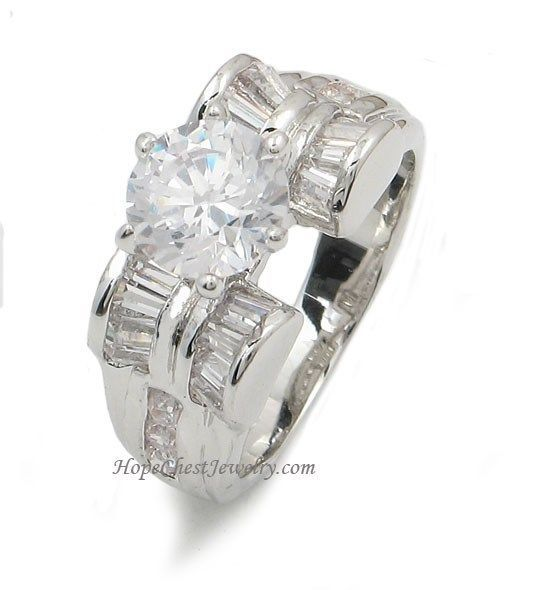 Round and Baguette Cut Cubic Zirconia Engagement Ring - SIZE 9 (LAST ONE)