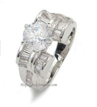 Round and Baguette Cut Cubic Zirconia Engagement Ring - SIZE 9 (LAST ONE) image 1