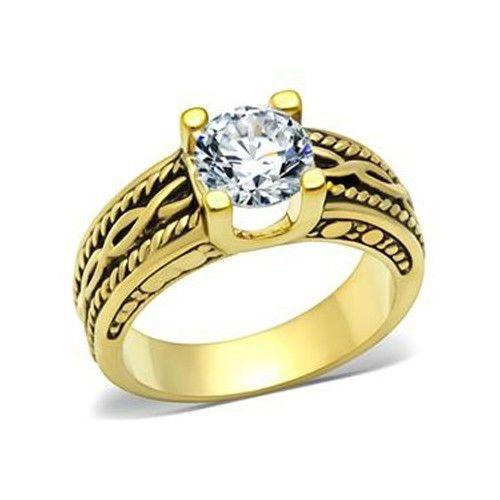 IP Gold 2.30 Carat Antique Design Cubic Zirconia Engagement Ring - SIZE 5 - 10