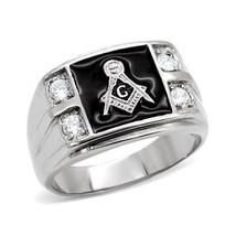 Stainless Steel Black Enamel Cubic Zirconia Men's Masonic Ring - SIZE 10 image 1